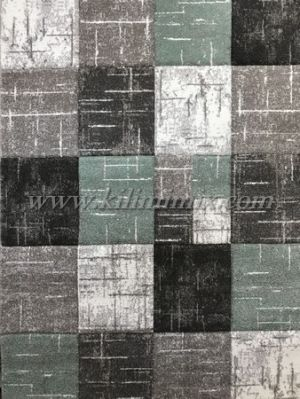 3D carpet Diamond - Green - Grey checked